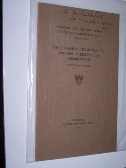 Image for THE CLASSICAL TRADITION IN ENGLISH LITERATURE: A BIBLIOGRAPHY