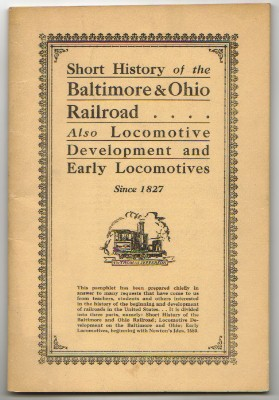Image for SHORT HISTORY of the BALTIMORE AND OHIO RAILROAD 1827-1935