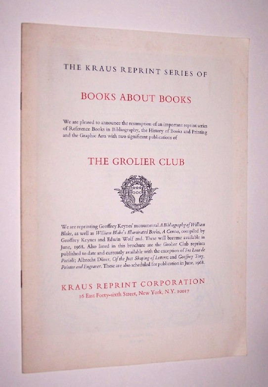 Image for The Kraus Reprint Series of BOOKS ABOUT BOOKS - THE GROLIER CLUB