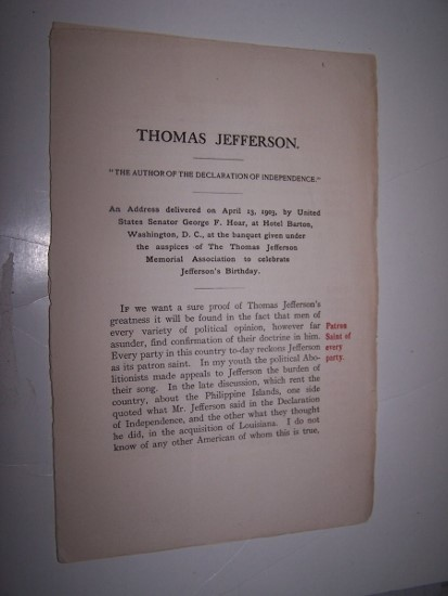 "Image for Thomas Jefferson : ""The author of the Declaration of independence."""