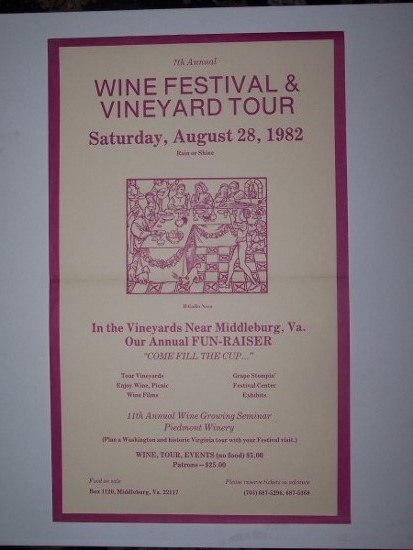 Image for Seventh Annual WINE FESTIVAL & VINEYARD TOUR  Saturday, August 28, 1982. Rain or Shine. In the Vineyards Near  Middleburg, Va. [Poster]