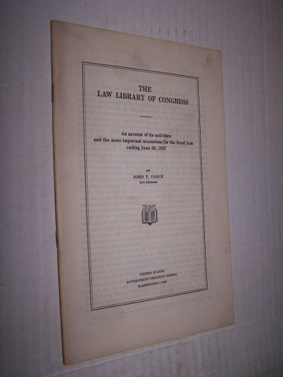 Image for THE LAW LIBRARY OF CONGRESS  An account of its activities and the more important accessions for the fiscal year ending June 30, 1934