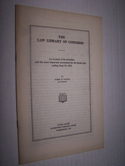 Image for THE LAW LIBRARY OF CONGRESS  An account of its activities and the more important accessions for the fiscal year ending June 30, 1931