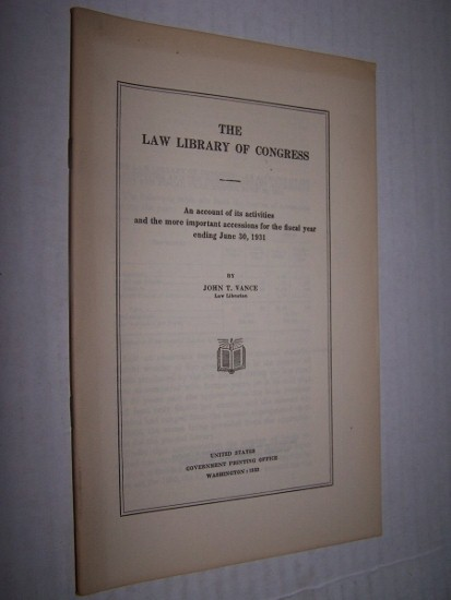 Image for THE LAW LIBRARY OF CONGRESS  An account of its activities and the more important accessions for the fiscal year ending June 30, 1935