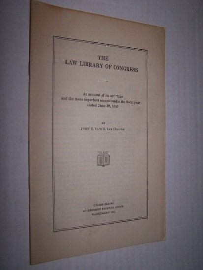 Image for THE LAW LIBRARY OF CONGRESS  An account of its activities and the more important accessions for the fiscal year ending June 30, 1936