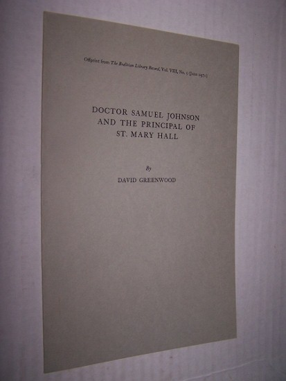 Image for Doctor Samuel Johnson and the Principal of St. Mary Hall