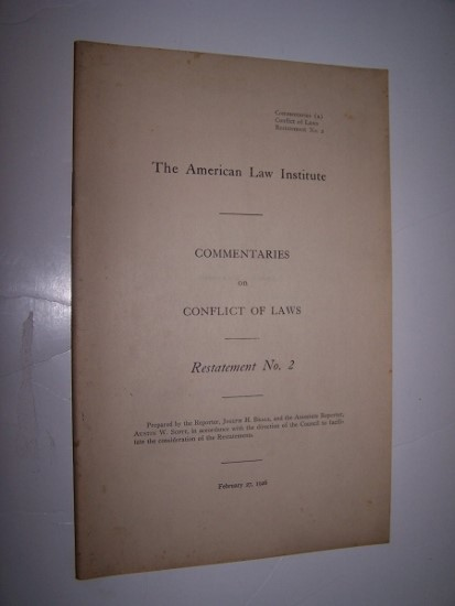 Image for COMMENTARIES ON CONFLICT OF LAWS  Restatement No. 2