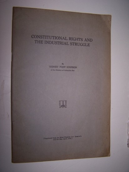 Image for Constitutional Rights and the Industrial Struggle with typed letter signed by the author