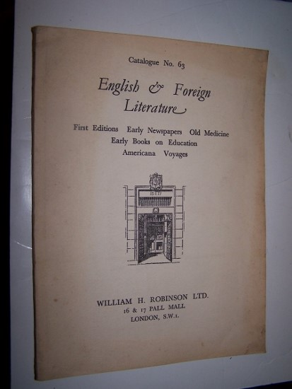 Image for ENGLISH & FOREIGN LITERATURE Catalogue 63 1937