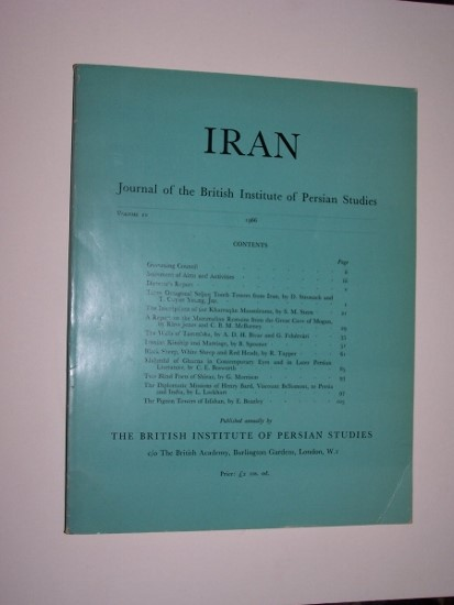 Image for Iranian Kinship and Marriage by B. Spooner  and other articles in IRAN JOURNAL OF THE BRITISH INSTITUTE OF PERSIAN STUDIES [Volume IV, 1966]