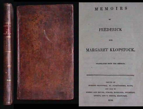 Image for MEMOIRS OF FREDERICK AND MARGARET KLOPSTOCK