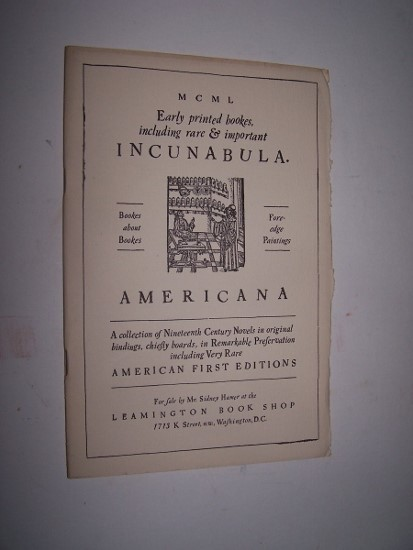 Image for Early Printed Bookes, including Rare & Important Incunabula. Americana - A collection of Nineteenth Century Novels