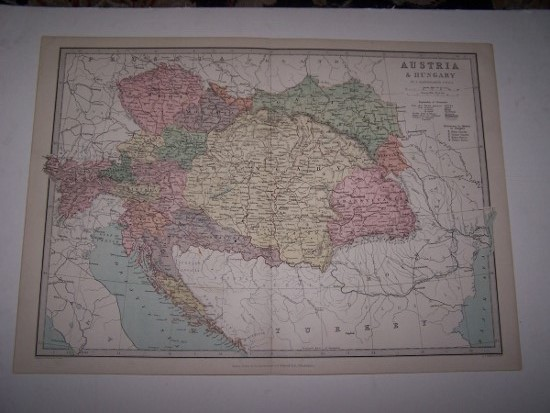 Image for Colour Map of AUSTRIA & HUNGARY from Zell's Popular Encyclopedia