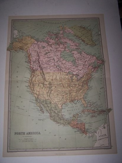 Image for Colour Map of NORTH AMERICA from Zell's Popular Encyclopedia
