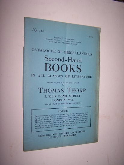 Image for Catalogue of Miscellaneous Second-Hand Books in All Classes of Literature - Catalogue No. 218