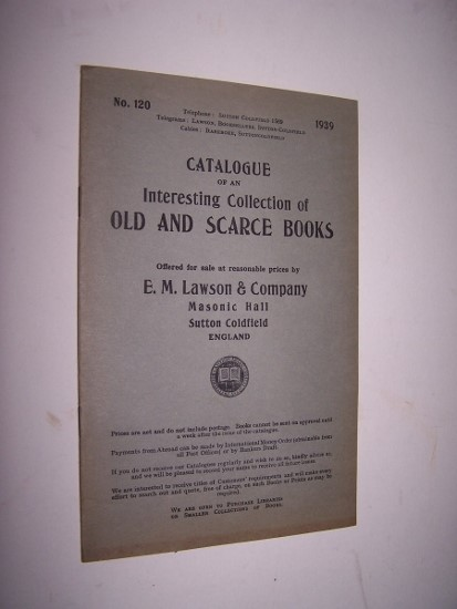 Image for Catalogue of An Interesting Collection of Old and Scarce Books - Catalogue 120