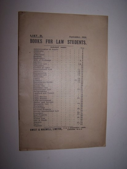 Image for Books for Law Students  (List D - September 1928 )
