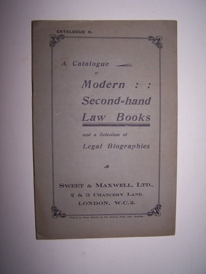 Image for A Catalogue of Modern Second-Hand Law Books  (Catalogue H - June 1928 ) with a Selection of Legal Biographies