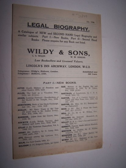 Image for Legal Bibliography A catalogue of New  and Second Hand Legal Bibliography and similar subjects