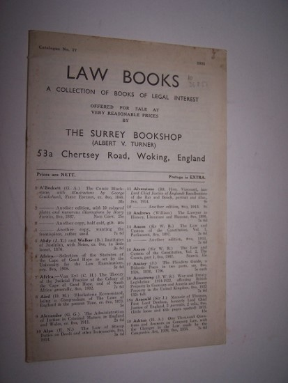 Image for Law Books - A Collection of Books of Legal Interest - Catalogue No. 77