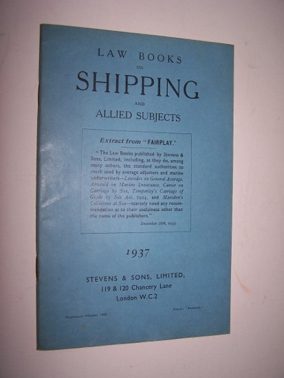 Image for Law Books on Shipping and Allied Subjects - Catalogue No. 77