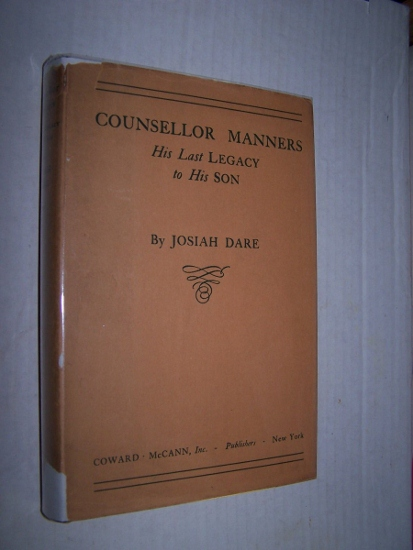 Image for COUNSELLOR MANNERS - His Last Legacy to His Son