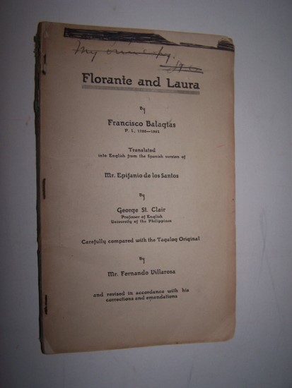 Image for Florante and Laura ...  Translated into English from the Spanish version of Epifanio de los Santos by George St. Clair Carefully compared to the Tagalog original by Fernando Villarosa