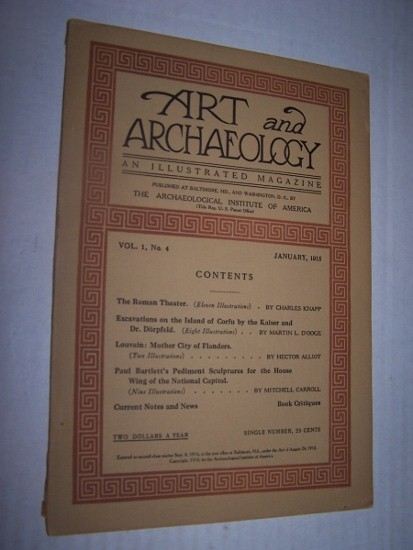 "Image for Art and Archaeology: An Illustrated Magazine   Volume I, No. 4 (January 1915) including ""Paul Bartlett's Pedimont Sculptures for the House Wing of the National Capitol"""