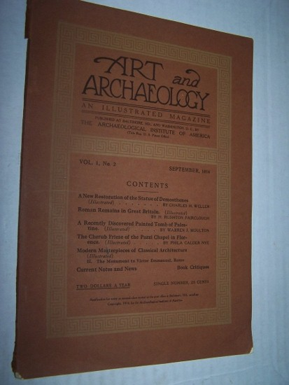 "Image for Art and Archaeology: An Illustrated Magazine   Volume I, No. 2 (September 1914) including Warren J. Moulton, ""A Recently Discovered Painted Tomb of Palestine"""