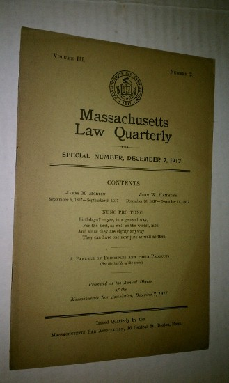 Image for James M. Morton and John W. Hammond Massachusetts Law Quarterly, December 7, 1917, Vol. III, No. 2