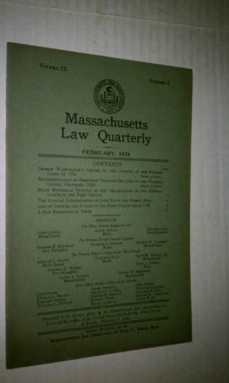 Image for The Judicial Independence of John Davis and Joseph Story in Massachusetts Law Quarterly, February 1924, Vol. IX, No. 3
