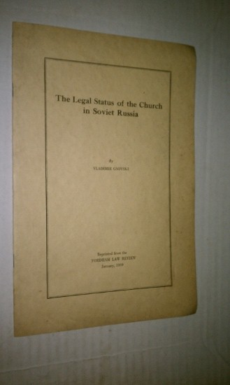Image for THE LEGAL STATUS OF THE CHURCH IN SOVIET RUSSIA
