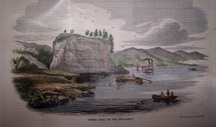Image for Tower-Rock, on the Mississippi [ Hand-colored wood engraving ]