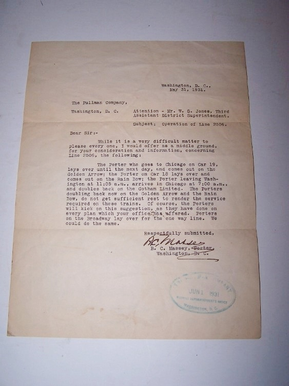 Image for Pullman Company Porters -- Typed Letter Signed  (TLS)