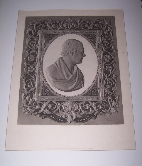 Image for ENGRAVED PORTRAIT OF SIR WALTER SCOTT -- A Portrait Engraving by Collas surrounded by an elaborately engraved border [Collas Patent Process Engraving ]
