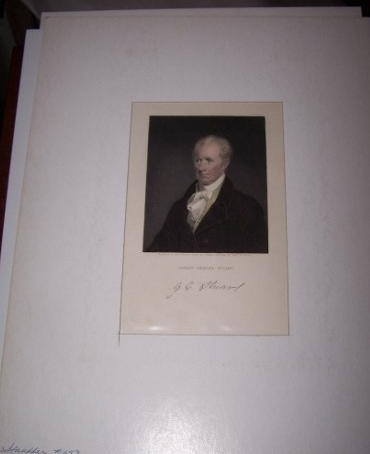 Image for Hand Colored Engraved Portrait of Gilbert Charles Stuart engraved by Asher Brown Durand from Sarah Goodrich's original Miniature Portrait of Gilbert Charles Stuart, Painter of George Washington's Portrait