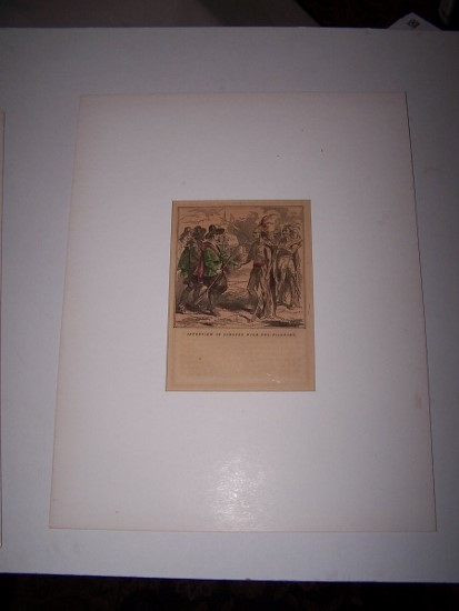 Image for An Interview of Samoset with the Pilgrims [ Hand-colored wood engraving ]