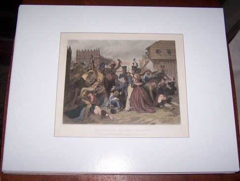 Image for Massacre at Fort Mimms Hand Colored Steel Engraving