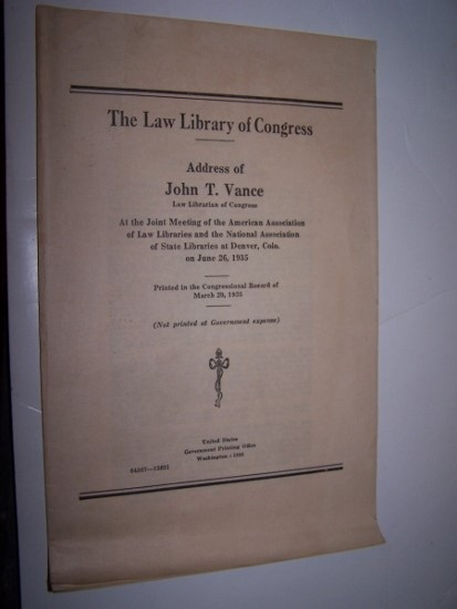 Image for THE LAW LIBRARY OF CONGRESS  Address of John T. Vance, Law Librarian of Congress