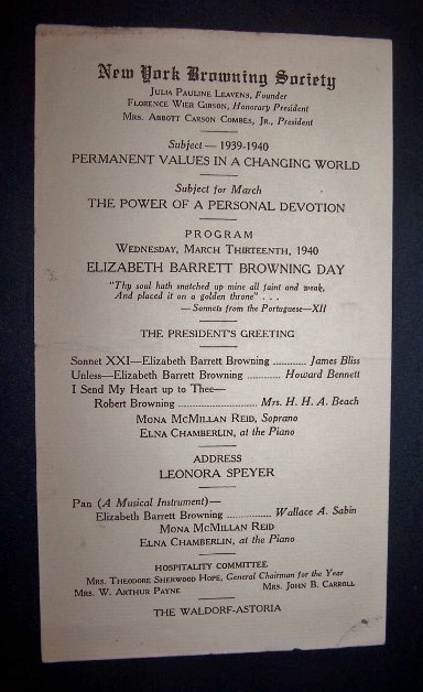 Image for Programme for 1940 Meeting of the NY Browning Society at the Waldorf Astoria Hotel