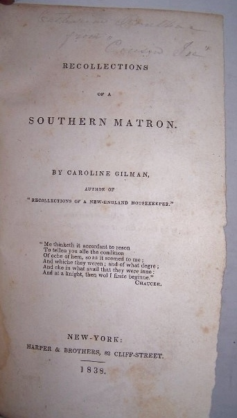 Image for RECOLLECTIONS OF A SOUTHERN MATRON