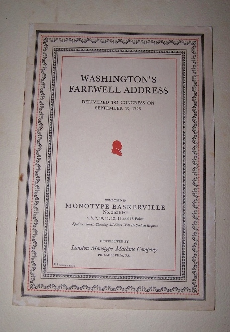 Image for WASHINGTON'S FAREWELL ADDRESS Address delivered to Congress on September 19, 1796